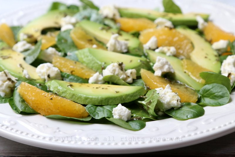 Salad with watercress, avocado, and orange