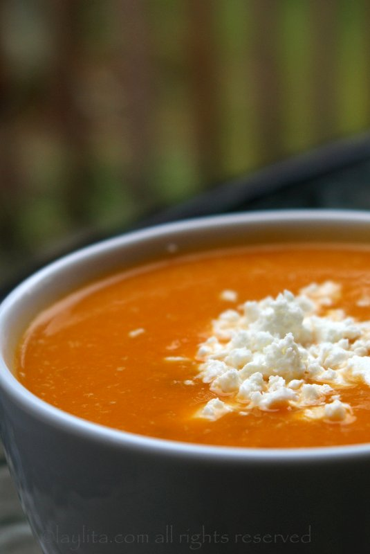 Squash or pumpkin soup with queso fresco
