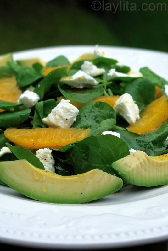 Watercress and avocado salad