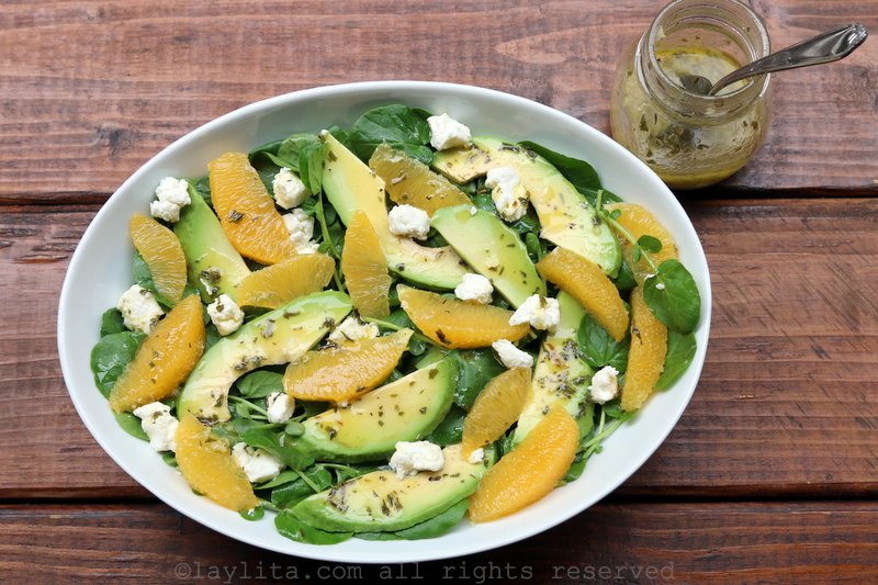 Watercress salad with avocado, orange, and goat cheese