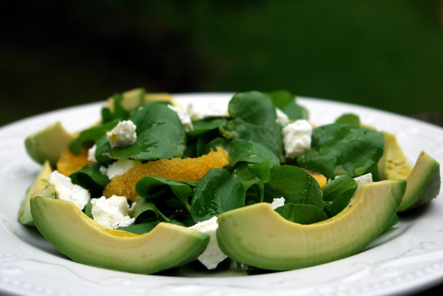 Watercress salad with avocado, orange and goat cheese