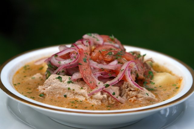 Encebollado de pescado or fresh tuna soup with pickled onions