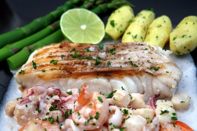 Grilled ling cod with seafood sauce