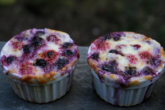 Mixed berries broiled with cream