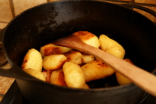 Potatoes browned in butter