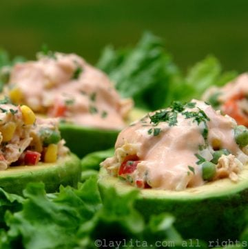 Avocados stuffed with tuna salad recipe