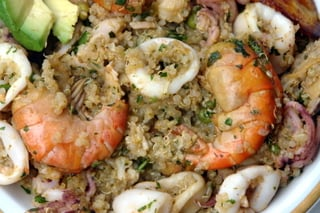 Quinoa cooked with mixed seafood