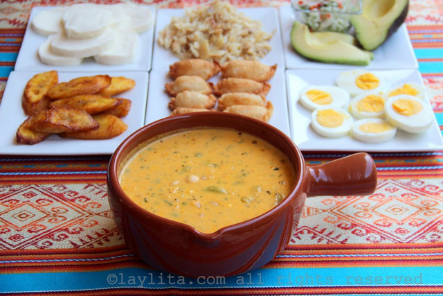 Ecuadorian fanesca soup with toppings