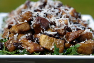 Eggplant and arugula salad with parmesan cheese