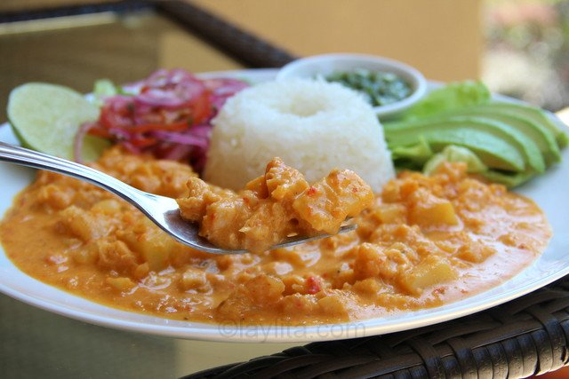 Guatita or Ecuadorian tripe stew in a potato peanut sauce