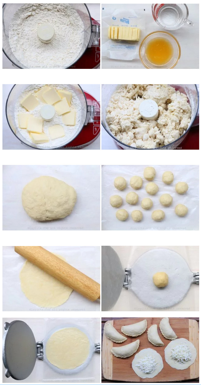 Making dough for fried cheese empanadas
