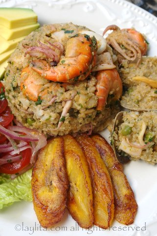 Mixed seafood with quinoa