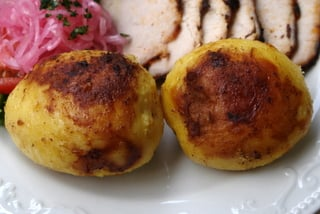 Whole potatoes sauteed in butter