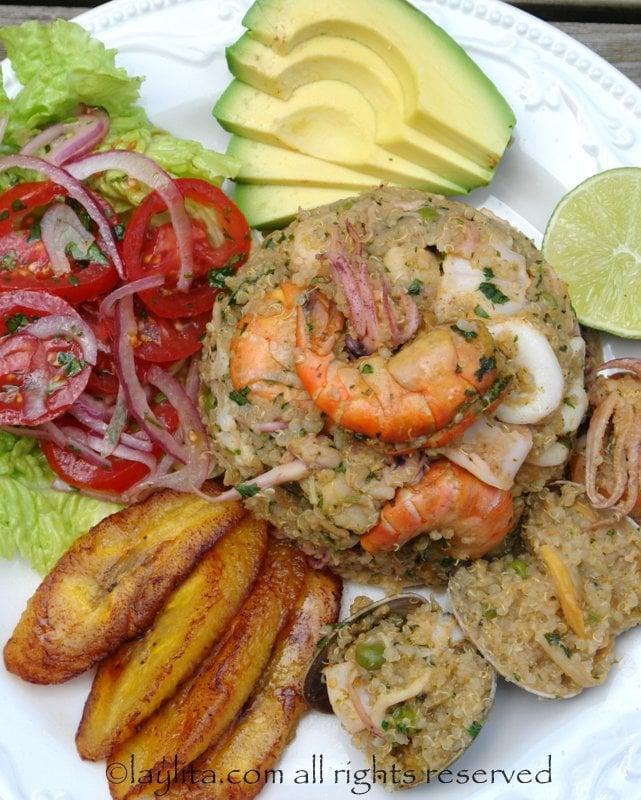 Quinoa seafood paella