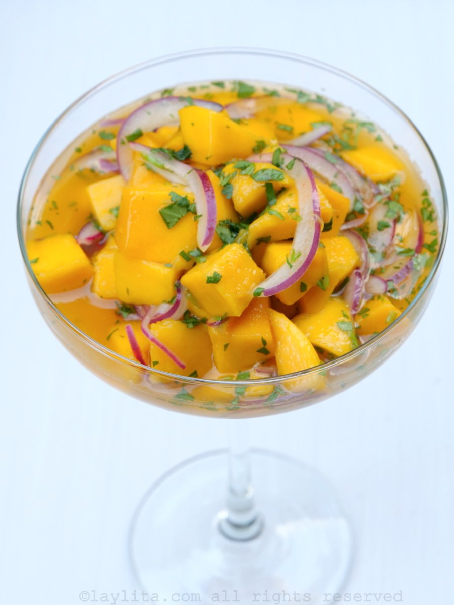 Simple mango ceviche with citrus habanero sauce