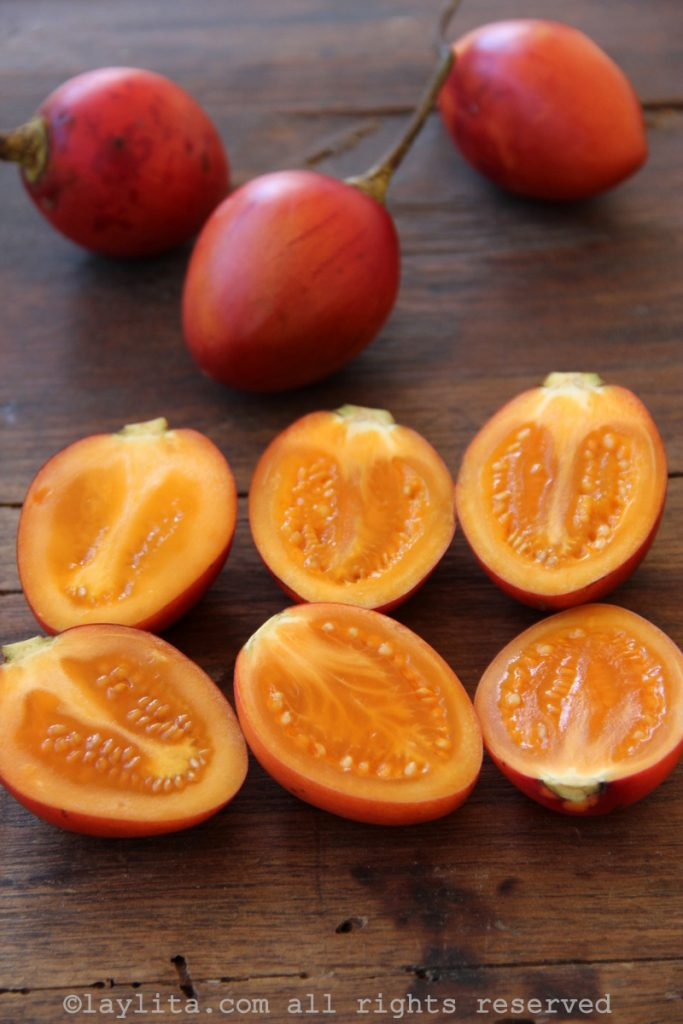 Tamarillo or tree tomato fruits in Ecuador