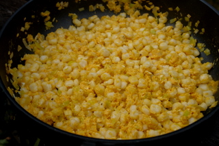 Cooking hominy and eggs