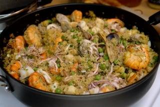 Seafood quinoa or quinoa seafood paella