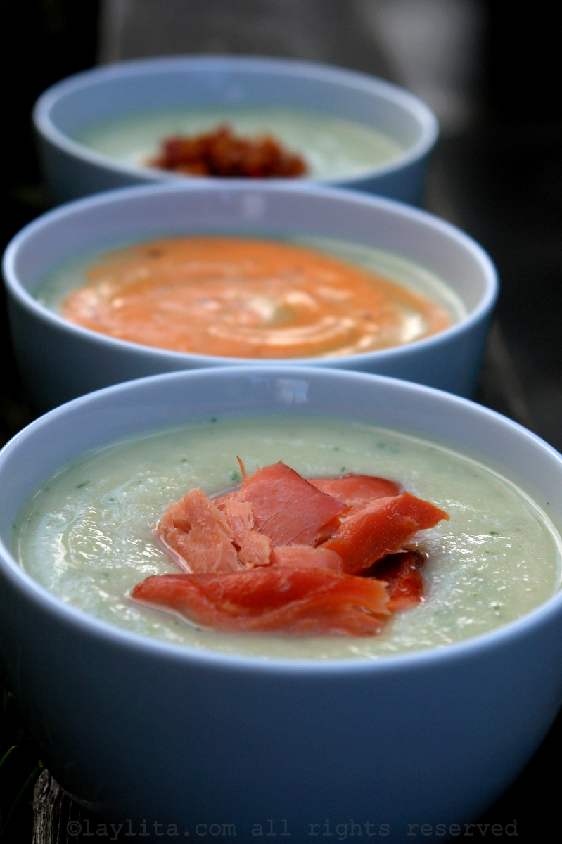 Creamy celery root soup with toppings