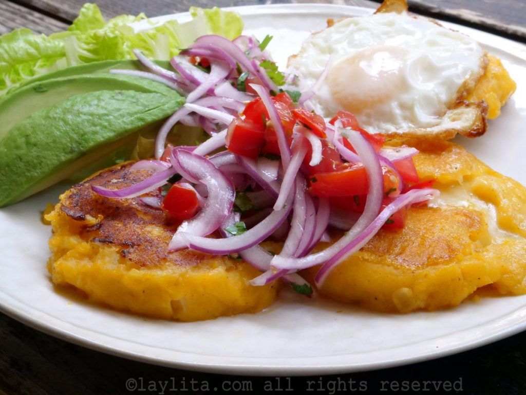 Ecuadorian mashed potato patties filled with cheese