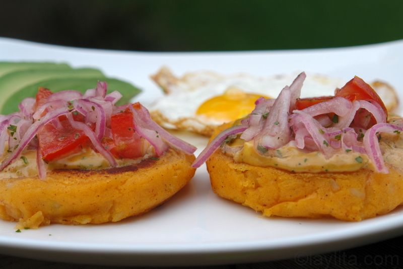 Ecuadorian llapingacho potato patties with peanut sauce