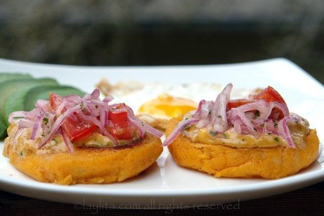 Llapingachos or Ecuadorian stuffed potato patties