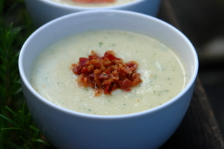 celery root soup with pancetta