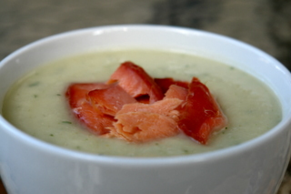 Celery root soup with smoked salmon