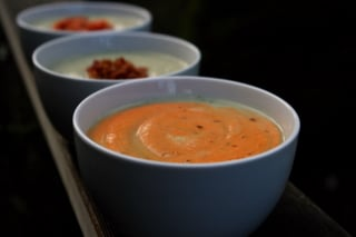 Celery root soup with roasted pepper yogurt sauce