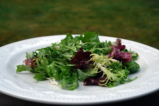 mixed salad greens with pear shallot vinaigrette