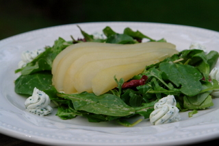 Poached pear and goat cheese salad