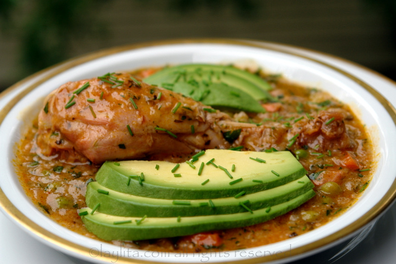 Aguado de gallina or Ecuadorian chicken rice soup recipe