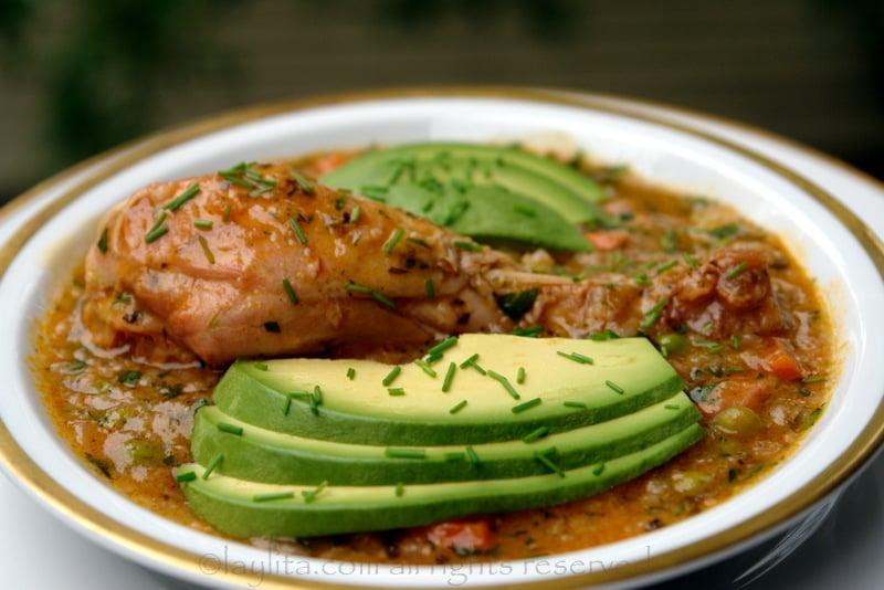 Ecuadorian chicken rice soup {Aguado de gallina}