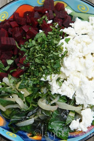 Beets, chard, goat cheese and fresh oregano filling