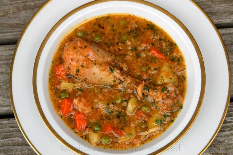 Aguado de gallina chicken rice soup