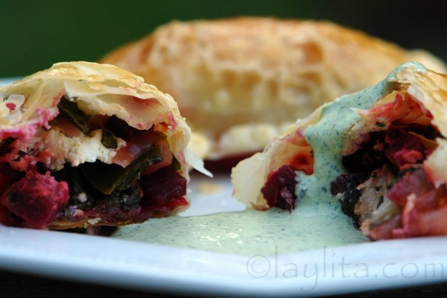 Swiss chard, beets and goat cheese empanadas