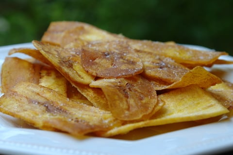 Chifles or chips made from green plantains