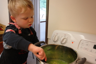 "My 2 1/2 year old helping me ""shake"" the soup"