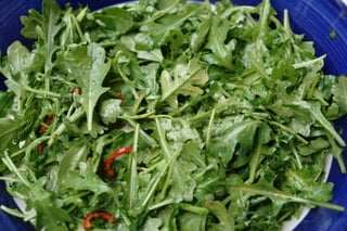 Arugula with spicy orange vinaigrette