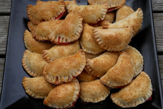 Empanadas filled with strawberry and rhubarb
