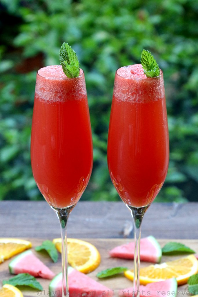 Watermelon mimosa cocktail