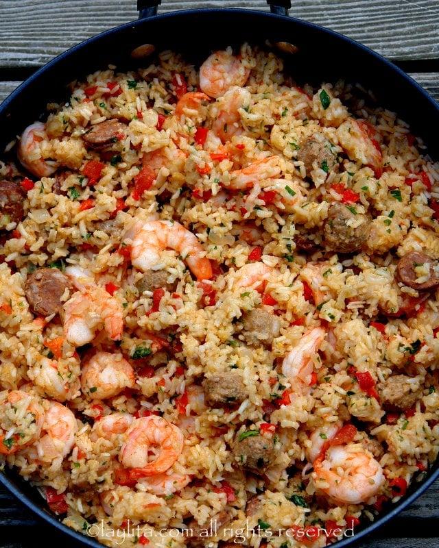 Arroz con chorizo y camarones or rice with shrimp and rice