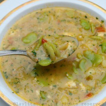 Ecuadorian locro de habas or fava bean soup