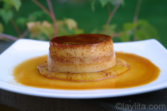 Flan de piña or pineapple flan