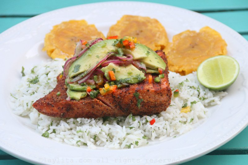 Grilled fish with avocado salsa