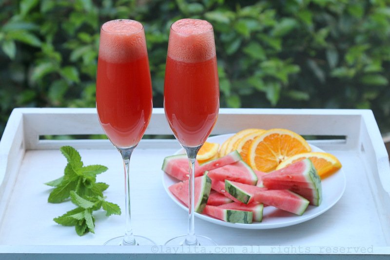 Mimosas made with watermelon and orange juice