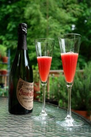 Watermelon cocktail with champagne
