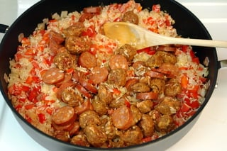 Rice with chorizo and shrimp preparation
