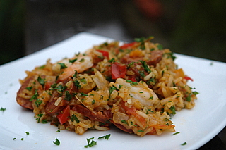 Rice with chorizo and shrimp
