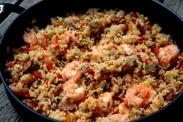 Arroz con chorizo y camarones or rice with chorizo and shrimp